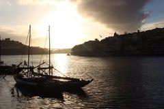Oporto en la puesta del sol Fotografía de archivo