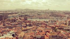 Oporto flyg- sikt och landskap royaltyfri fotografi