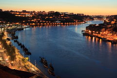 Oporto i solnedgång Royaltyfria Bilder