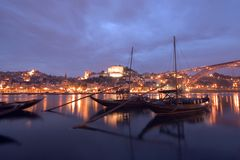 Oporto at night. Night view of Oporto - Portugal Stock Images