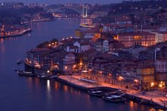 Oporto at night. View of Oporto and Douro river Royalty Free Stock Photos