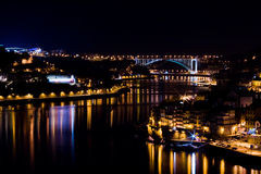 Oporto at Night. Looking down at Oporto and Gaia at night Stock Images