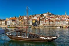 Oporto or Porto city skyline, Douro river, traditional boats and stock photos