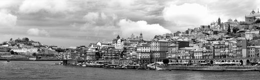 Oporto, Portugal. A panoramic view of the old docks of the city of Oporto, Portugal - Black and white Stock Images