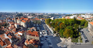 Oporto Portugal. A panoramic view of the Oporto downtown, Portugal, with colorful rooftops under a bright and beautiful bright sky Royalty Free Stock Photo