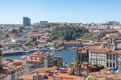 Aerial view at the Douro river, with cruisers and recreative boats. Oporto/Portugal - 10/02/2018 : Aerial view at the Douro river, with cruisers and recreative royalty free stock images