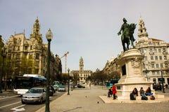 Oporto Portugal: Aliados aveny från den Liberdade (frihet) fyrkanten Royaltyfria Foton