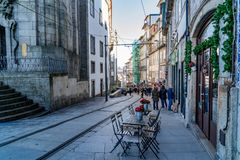 Trolley car in Porto running in the street stock images