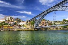 Oporto, Portugal en Dom Luis Bridge Imagen de archivo