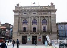 Oporto Portugal: Nationell teater São João, från 1794 Royaltyfria Foton