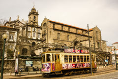 Oporto, Portugal: S. Francisco church and a tramway Royalty Free Stock Photo