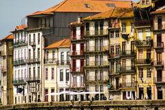 Oporto, Portugal: The traditional and ancient housing buildings in Cais (pier) of Ribeira Stock Photos