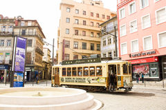 Oporto, Portugal: a typical tramway in Batalha square Royalty Free Stock Photography