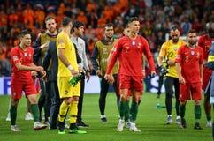 """OPORTO, PORTUGLAL - 9 giugno 2019: Cristiano Ronaldo ed il Portogallo \ """"i compagni del gruppo di s celebrano la conquista del fi immagini stock"""
