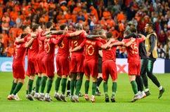 """OPORTO, PORTUGLAL - 9 giugno 2019: I compagni del gruppo di s """"\ del Portogallo celebrano la conquista del finale della lega di n fotografie stock libere da diritti"""