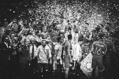 """OPORTO, PORTUGLAL - 9 giugno 2019: Il Portogallo \ """"la s Cristiano Ronaldo ed i compagni del gruppo celebrano la conquista dello  immagine stock"""