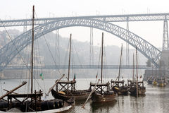 Oporto Rabelo Boats Stock Images