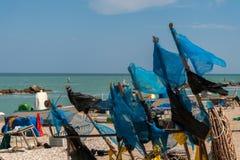 Oporto Recanati, Italia, pescador del engranaje Fotos de archivo