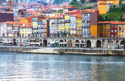 Oporto Ribeira, Portugal. Oporto famous landmark Ribeira with its old docks and ancient Rabelo boats used to transport port wine from vineyards along the river Stock Photo