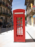 Oporto street old red telephone cabin Royalty Free Stock Images