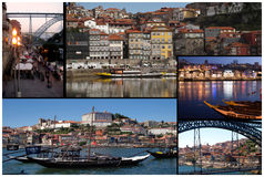 Oporto traditional old houses and river collage. Oporto collage with most traditional views from river ,bridge and ribeira houses Stock Photos
