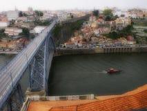 Oporto traditionellt D Sikt för Luis broflod Fotografering för Bildbyråer