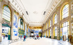 Oporto Train Station, S. Bento, Portugal. Wide view of the famous S. Bento train station interior, Oporto, Portugal. January 25, 2015 stock images