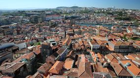 Porto aerial Portugal. Oporto urban landscape on Douro River and city skyline from Clerigos Tower, the highest point in the city of Porto. Cathedral or Se do stock footage