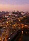 Oporto viejo en la puesta del sol, Portugal Fotografía de archivo libre de regalías