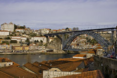 Oporto View with D. Luis Bridge Royalty Free Stock Images