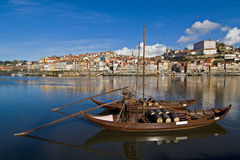Oporto wine boats at Douro river Stock Images