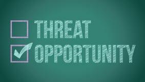 Oportunidad contra amenaza Imagen de archivo libre de regalías