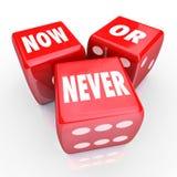 Oportunidad de la oferta de ahora o nunca tres 3 Red Dice Act Limited Imágenes de archivo libres de regalías