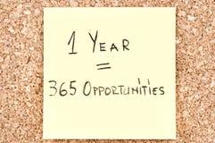 Oportunidades de 1 año 365 Imagen de archivo libre de regalías