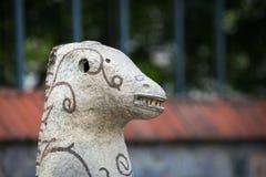 OPOSHNYA, UKRAINE-SEPTEMBER 21: Art exhibition of pottery on se Stock Photos