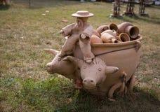 OPOSHNYA, UKRAINE-SEPTEMBER 21: Art exhibition of pottery on se Royalty Free Stock Photos