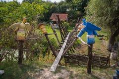 OPOSHNYA, UKRAINE-SEPTEMBER 21: Art exhibition of pottery on se Stock Photography