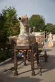 OPOSHNYA, UKRAINE 21. SEPTEMBER: Kunstausstellung von Tonwaren auf Se Lizenzfreie Stockbilder