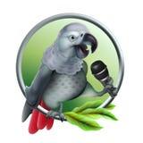 Opowiadać papugi z mikrofonem Wektor realistyczny Wektorowa siatki technika ilustracja wektor