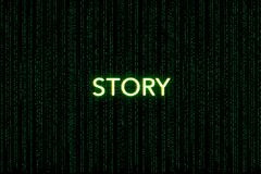 Opowieść, słowo kluczowe młyn, na zielonym matrycowym tle fotografia stock