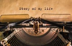 Opowieść mój życie pisać na maszynie słowa obraz stock