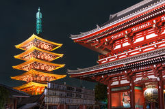 opowieści pagoda w Asakusa Sensoji świątyni - Tokio, Japonia Obrazy Royalty Free