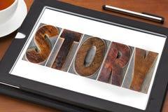 Opowieści słowo na pastylce Zdjęcie Stock