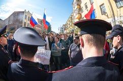 Opozycja protesta wiec naprzeciw prezydenta Vladimir ` s Putinowskiego ina zdjęcia royalty free