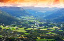 Oppdal mountain valley landscape background Stock Image