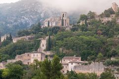 Oppede le vieux , french hilltop village . Oppede le vieux ,old hill top village in the south of france , provence , in the clouds Stock Photography