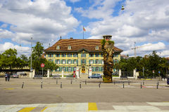 The Oppenheim fountain in Bern. BERN, SWITZERLAND - SEPTEMBER 06, 2015: The Oppenheim fountain, it was set into operation in 1983, the fountain is situated on stock images