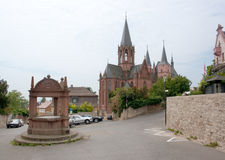 Oppenheim. With Katharinenkirche in the Mainz-Bingen district of Rhineland-Palatinate in Germany stock photos