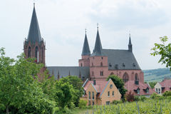 Oppenheim. With Katharinenkirche in the Mainz-Bingen district of Rhineland-Palatinate in Germany stock images