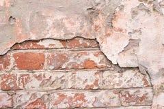 Oppervlakte van cement Donkerrode bakstenen muur De ronde bouw Stock Foto